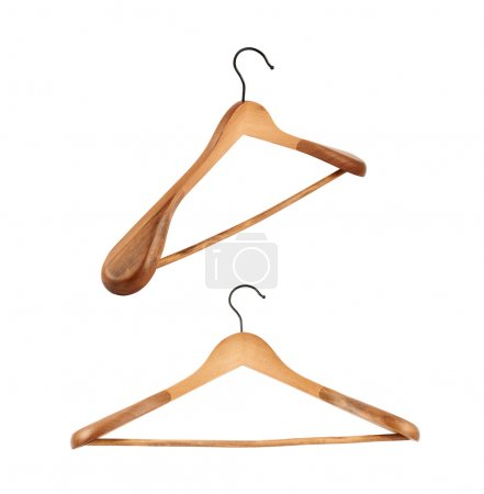 Photo for Classic wooden coat hanger isolated over white background, set of two foreshortenings - Royalty Free Image
