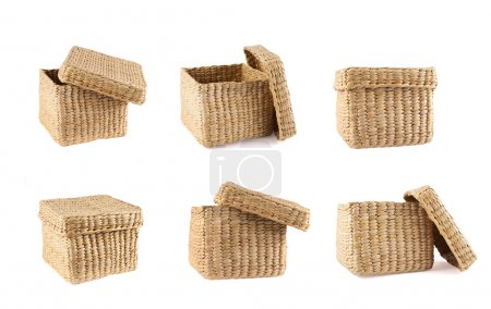 Photo for Box shaped wicker basket with a cover cap isolated over white background, set of six foreshortenings - Royalty Free Image