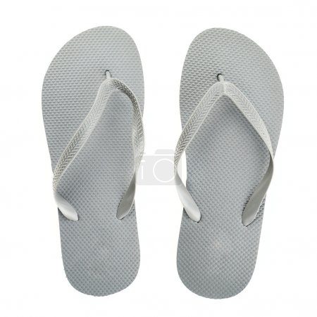 grey rubber flip flops isolated