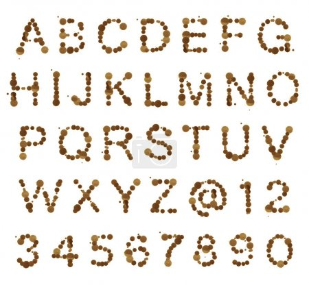 Photo for ABC alphabet set made of coffee blot spots isolated over white background - Royalty Free Image