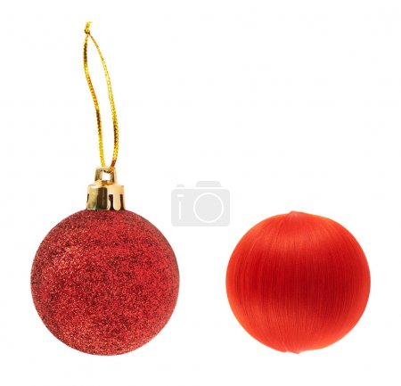 Two red decoration balls isolated
