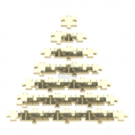 Pyramid made of puzzle pieces isolated