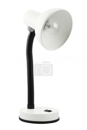 White office table lamp isolated