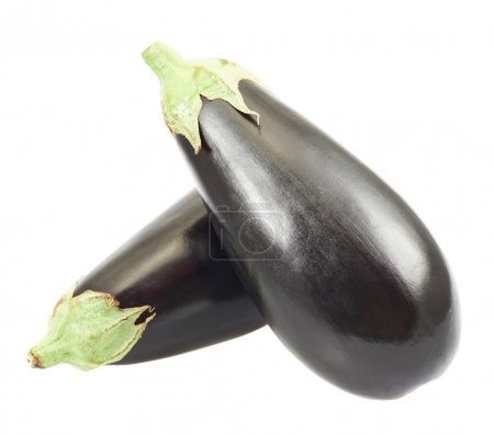 Eggplants, one over another isolated