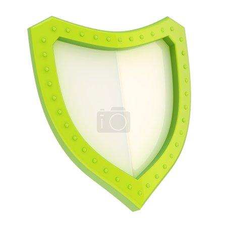 Three-dimensional shield symbol isolated