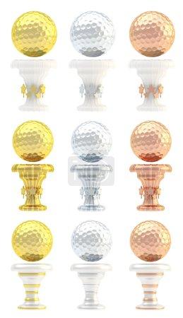 Photo pour Trophée sportif balle de golf ensemble de tasses dorées, argentées et bronze en trois variantes de conception isolées sur fond blanc - image libre de droit