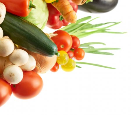 Photo for Pile of multiple different vegetables over the white background - Royalty Free Image
