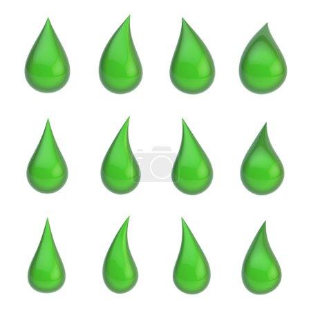 Set of twelve liquid drops