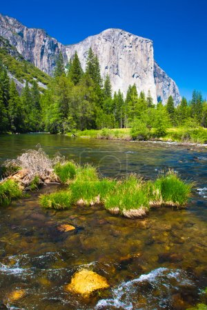 El Capitan Rock and Merced River in Yosemite National Park,California