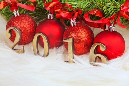 Photo for New year 2016 decoration with branch of Christmas tree - Royalty Free Image