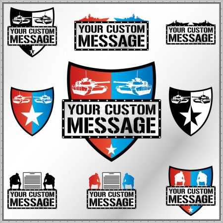 Shield illustration with tanks, battleships ans sumo fighters with space for Your custom text