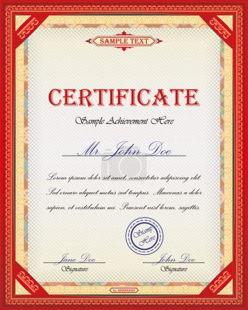 Illustration for Certificate design with ornamental frame and place for Your custom text - Royalty Free Image