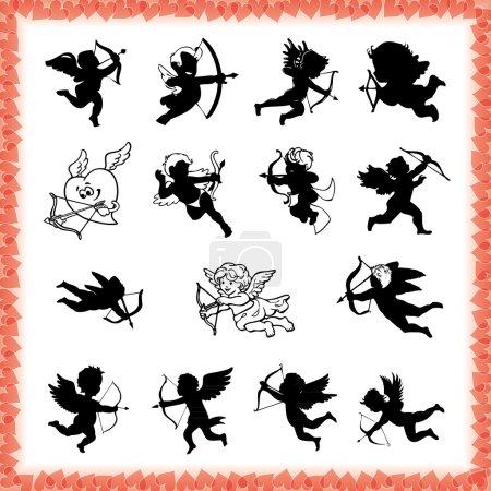Illustration pour Collection de mignonnes figures de Cupidon en noir, isolées sur fond blanc - image libre de droit