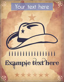 Western style poster with a cowboy hat a star an ammo belt and place for Your custom text