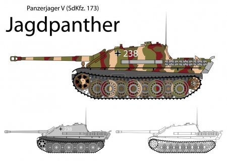 German WW2 Jagdpanther tank destroyer with long 88 gun