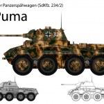 WW2 German SdKfz. 234 2 Puma armored car...