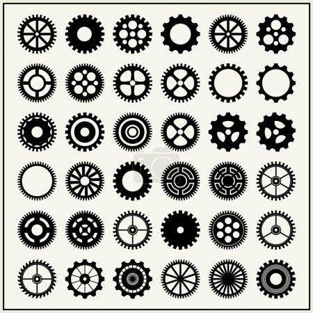 Illustration pour Collection de 36 roues dentées isolées sur fond de lumière - image libre de droit