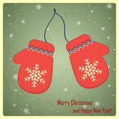 Christmas and New Year greeting card with mittens