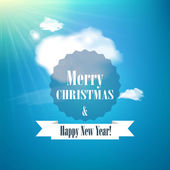 Merry Christmas and Happy new year card Holiday background Sunny day background with clouds Vector illustration