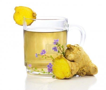 Photo for Healthy, herbal tea or infusion, of fresh root ginger, on a white background - Royalty Free Image