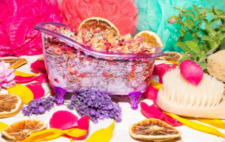 Colourful luxury bathing still life