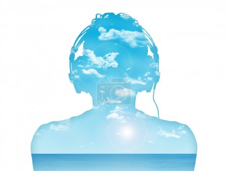 man listening to the music in perfect harmony