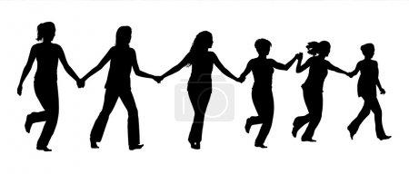 groupe de femmes tenant la main et courant ensemble