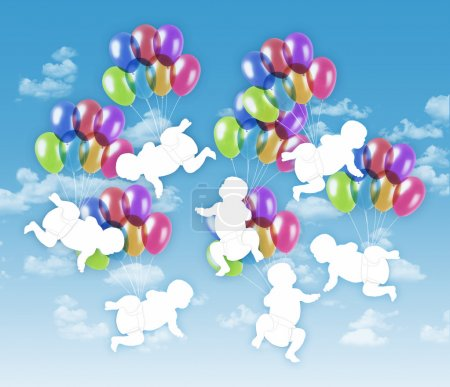 seven happy babies flying on colorful balloons in the sky