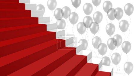 Photo pour Zoom sur une partie un nouvel escalier blanc brillant avec un tapis rouge et beaucoup de ballons transparents sur le fond - image libre de droit