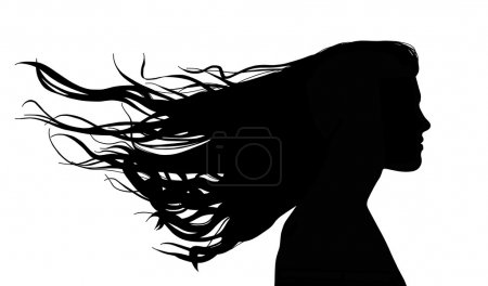 woman with long hair in the wind