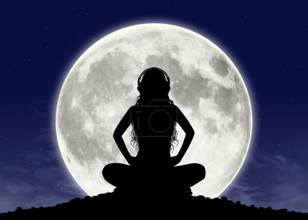 Photo for Silhouette of a young beautiful woman with long hair in headphones in meditation posture with the full moon on the background - Royalty Free Image