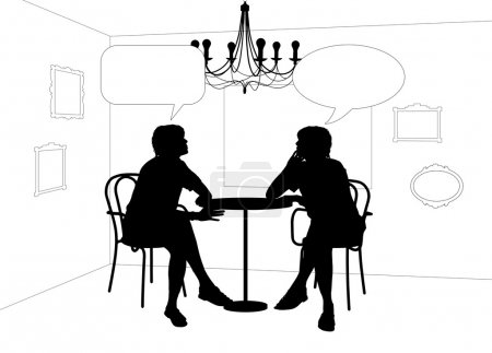 Two women speaking at the table in cafe