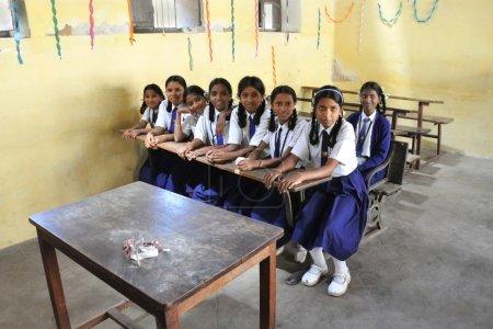 Indian schoolgirls in the classroom