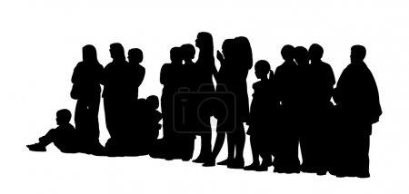 Photo pour Silhouette noire d'un grand groupe de personnes différentes en majorité des femmes, des adultes et des enfants debout assis sur le sol, le profil de vue de côté - image libre de droit