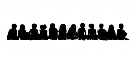 large group of children seated silhouette 3
