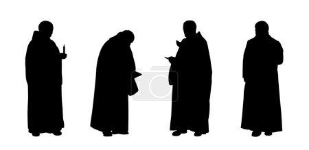 Photo pour Silhouettes de quatre moines chrétiens debout dans différentes postures - image libre de droit