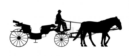 Old style carriage with two horses and a coachman silhouette