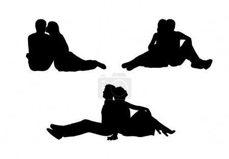 Photo for Black silhouettes of a young couple of lovers seated together in various postures, profile and front views - Royalty Free Image