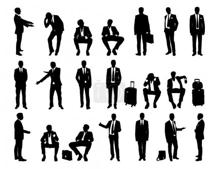 Photo for Big set of black and white silhouettes of a businessmen standing and sitting in different postures, face and profile views - Royalty Free Image