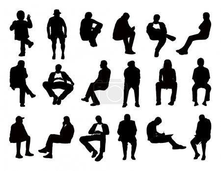 Foto de Gran conjunto de siluetas negras de los hombres de diferentes edades asentados en diferentes posturas leyendo, hablando, escribiendo, hablando por teléfono o sólo observando, vistas de frente y perfil - Imagen libre de derechos