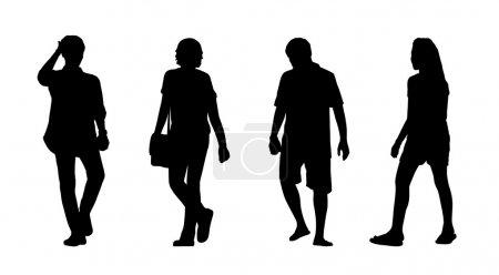Asian people walking outdoor silhouettes set 3