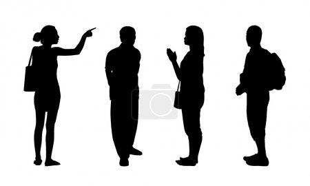 Asian people standing outdoor silhouettes set 1