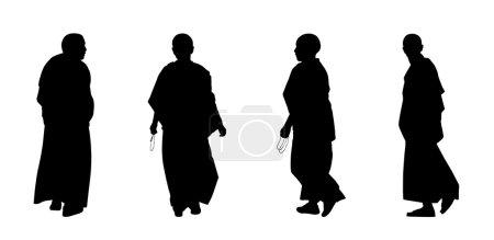 Photo pour Silhouettes de moines et moniales bouddhistes en vêtements traditionnels marchant - image libre de droit