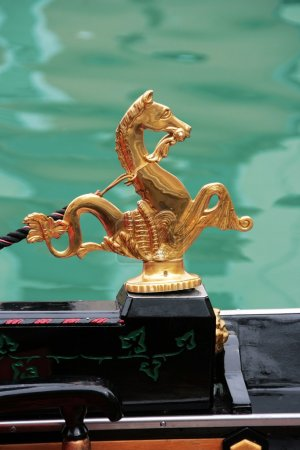 Venice symbol: golden sea horses decoration from the traditional