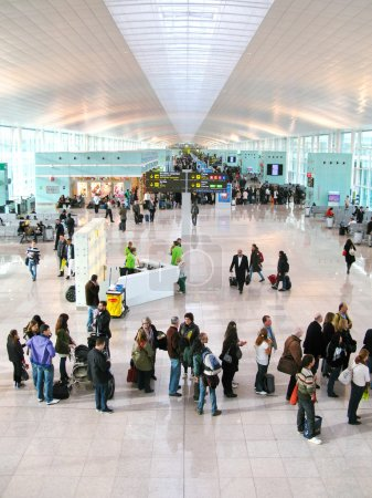 BARCELONA - December 10: Hall of the new, modern airport of Barc