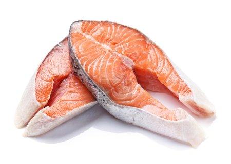 Norwegian salmon red fish on white plate