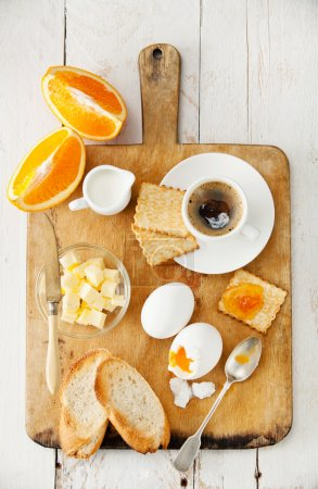 Photo for Traditional breakfast eggs with coffee - Royalty Free Image