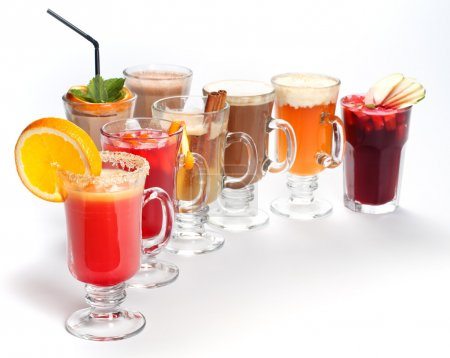 Assortment of different drinks on white background