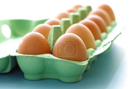 Photo for Egg carton containing a dozen eggs fresh free range eggs - Royalty Free Image