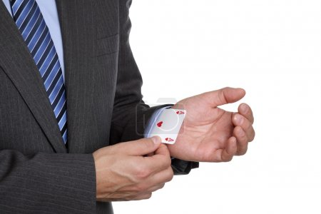 Photo for Business sayings ace up his sleeve magic trick or cheating in card game - Royalty Free Image